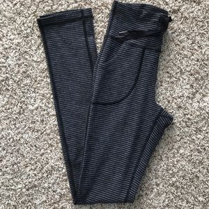 Lululemon skinny will pant gray and black stripe 6